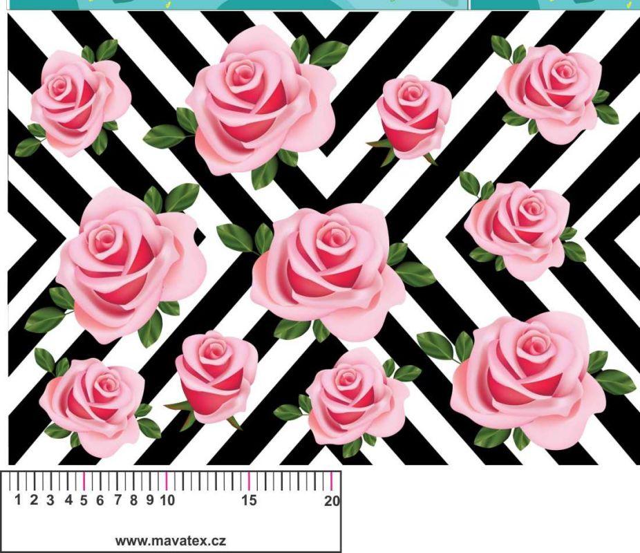 Chevron s růžemi - aplikace k našití - kepr vyrobeno v EU- atest pro děti bavlna