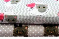 Šedá bavlna s puntíky a kočičkami vyrobeno v EU- atest pro děti bavlna