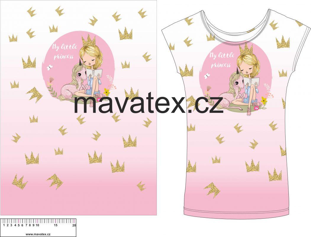 Panel na triko - holčička s jednorožcem vyrobeno v EU