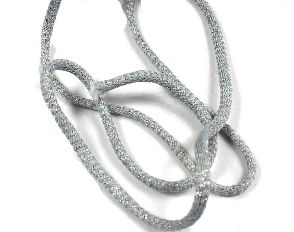 Kulatá splétaná tkanice 0,7 cm stříbrná vyrobeno v EU