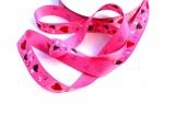 Dekorační stužka ripsová růžová se srdíčky 1,5 cm