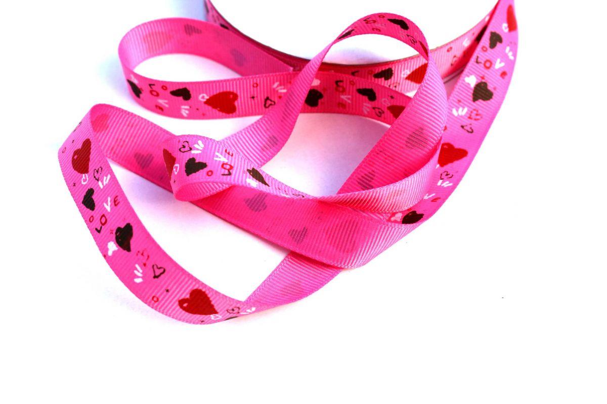 Dekorační stužka ripsová růžová se srdíčky 1,5 cm PPO