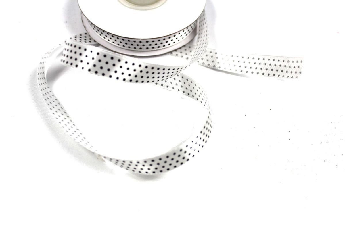 Dekorační stužka bílá s černými puntíky 1,2 cm PPO