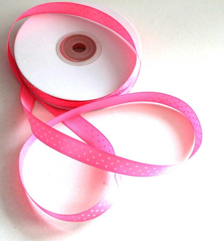 Dekorační stužka růžová s puntíky 1,2 cm PPO