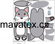 Pyžamožrout -liška šedá vyrobeno v EU- atest pro děti bavlna