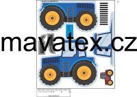 Pyžamožrout -traktor modrý vyrobeno v EU- atest pro děti bavlna