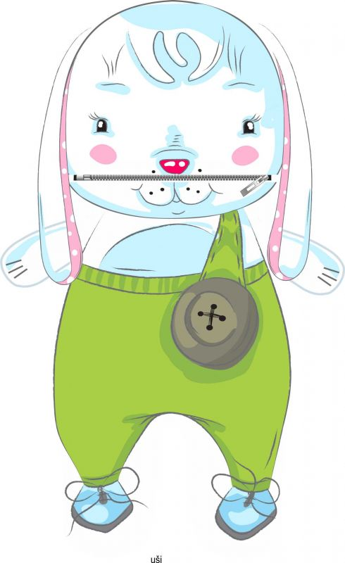 Pyžamožrout -zajíček zelený vyrobeno v EU- atest pro děti bavlna