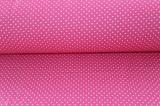 Růžová malinová bavlna s bílými puntíky vyrobeno v EU- atest pro děti bavlna
