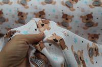 Bílá bavlna na pleny s hnědými medvídky vyrobeno v EU- atest pro děti bavlna