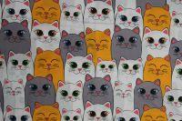 Bílá bavlna s kočkami