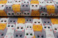 Bílá bavlna s kočkami vyrobeno v EU- atest pro děti bavlna