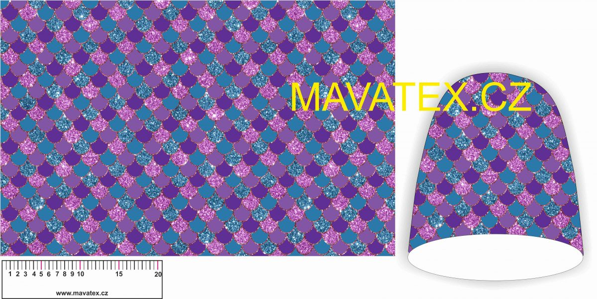 Panel na čepice SKEJŤAČKA - fialové vlnky s glitry Mavatex