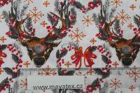 Bílá bavlna s vánočními soby vyrobeno v EU- atest pro děti bavlna