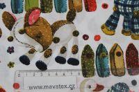 Bílá bavlna s látkovými zvířátky vyrobeno v EU- atest pro děti bavlna