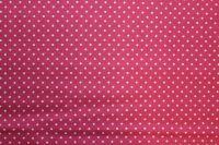 Růžová malinová bavlna s bílými  puntíky