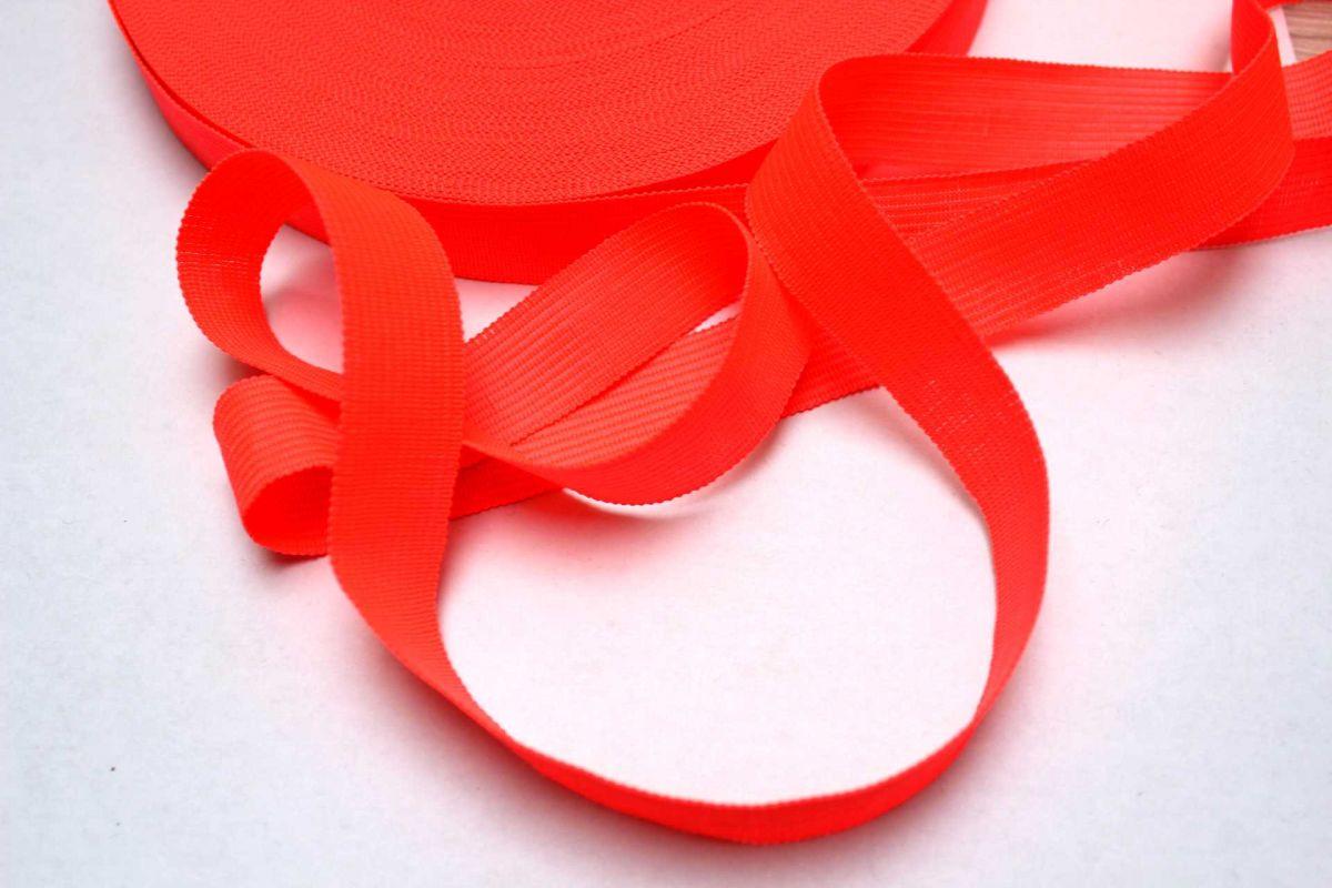 Tkanice plochá svítivě růžovo-oranžová -2 cm Vyrobeno mimo EU