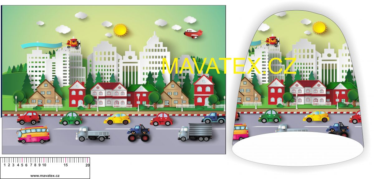Panel na čepice -autíčka na silnici Tukan
