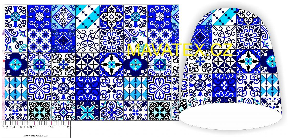 Panel na čepice SKEJŤAČKA - modré mandaly vyrobeno v EU