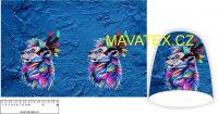 Panel na čepice SKEJŤAČKA - indiánský lev na modré