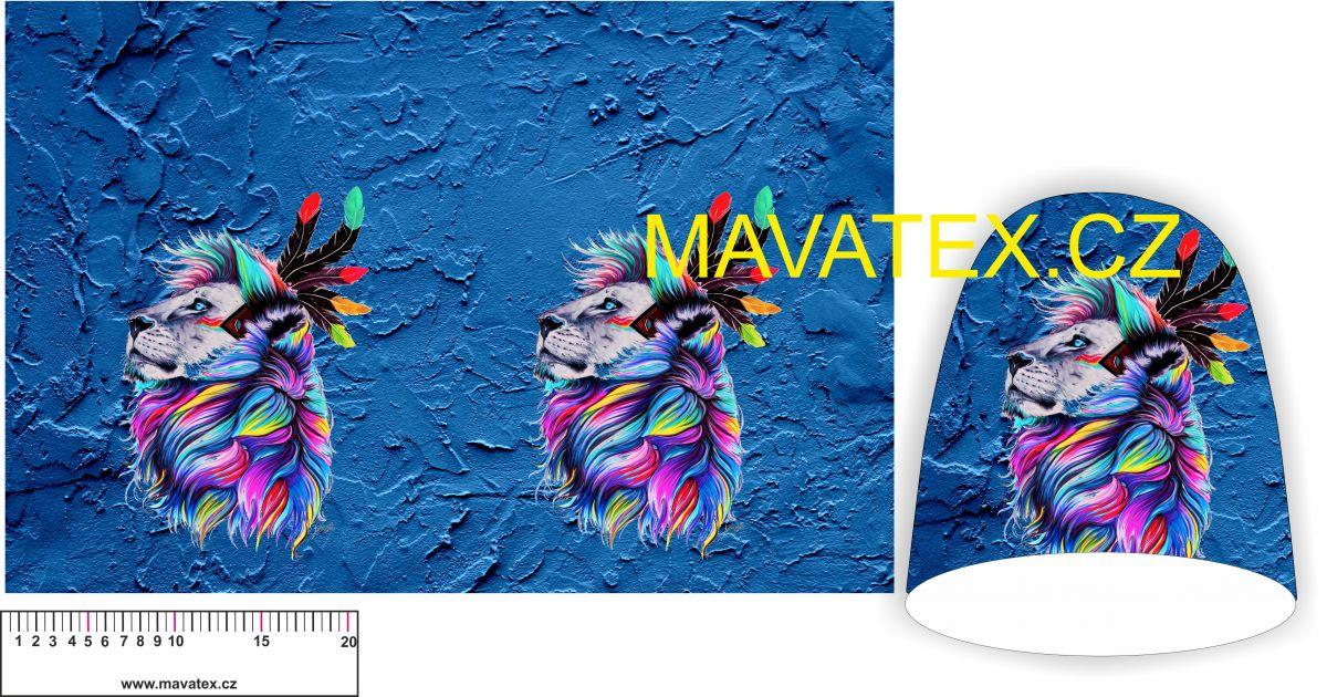 Panel na čepice SKEJŤAČKA - indiánský lev na modré vyrobeno v EU