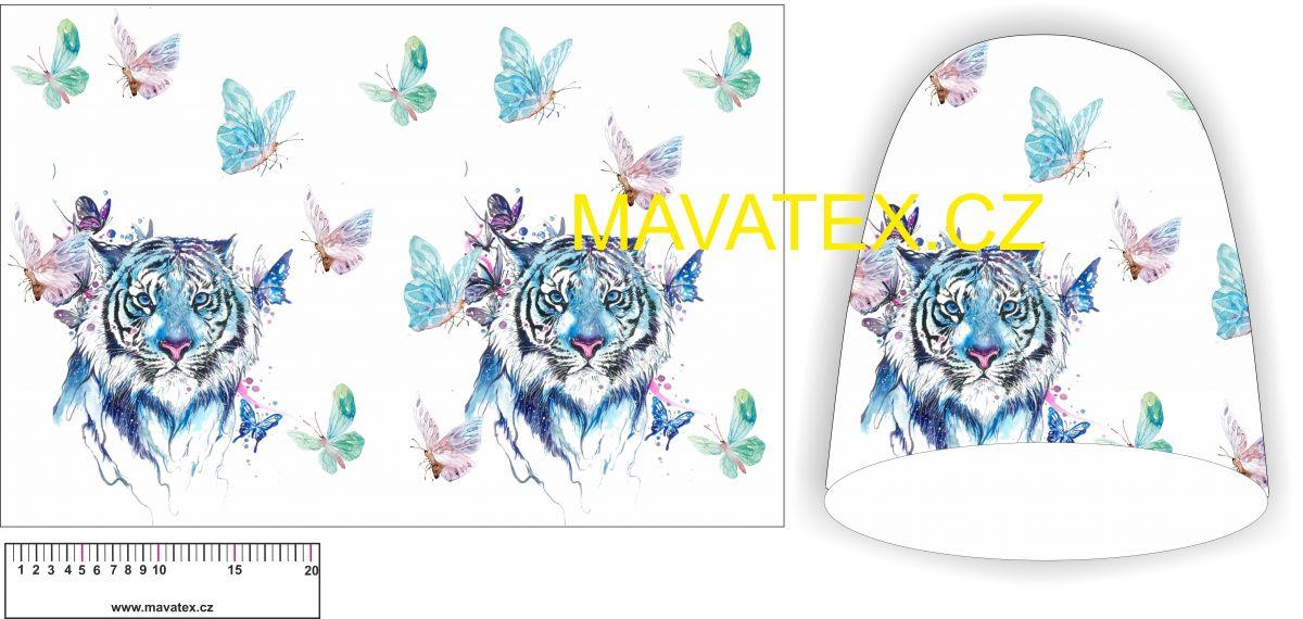 Panel na čepice SKEJŤAČKA - barevný tygr s motýlky vyrobeno v EU