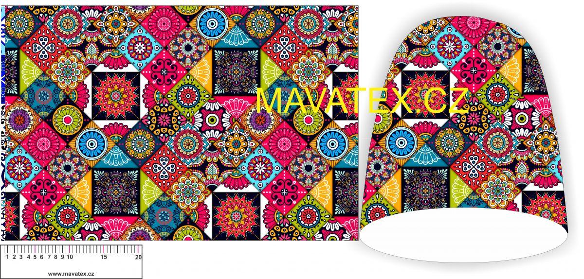 Panel na čepice SKEJŤAČKA - barevné mandaly vyrobeno v EU