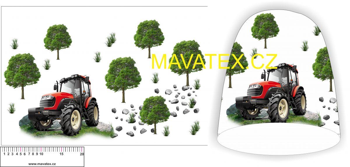 Panel na čepice PANELOVU - červený traktor se stromy vyrobeno v EU