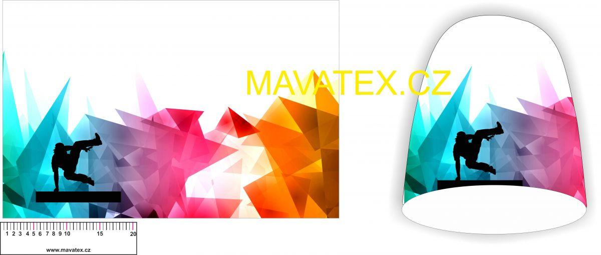 Panel na čepice SKEJŤAČKA - parkour barevné sklo vyrobeno v EU