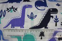 Bílá bavlna s modrými dinosaury vyrobeno v EU- atest pro děti bavlna