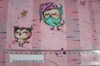 Růžová bavlna se sovičkami a zlatým tiskem vyrobeno v EU- atest pro děti bavlna