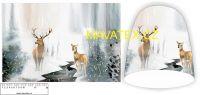 Panel na čepice - jelen v zimě
