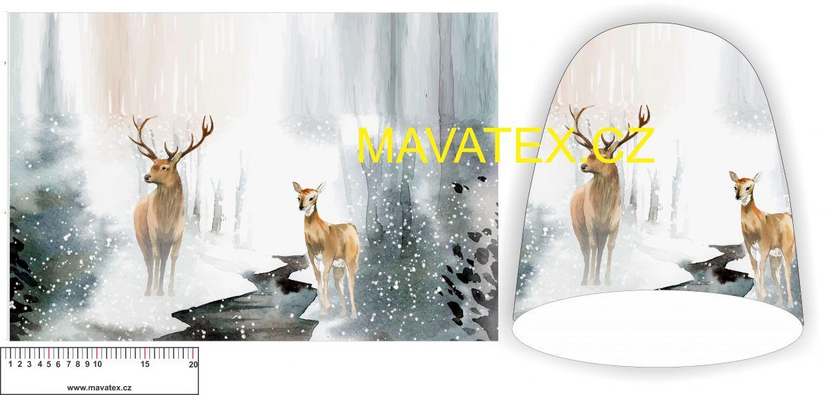 Panel na čepice - jelen v zimě Tukan