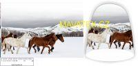 Panel na čepice - koně v zimě