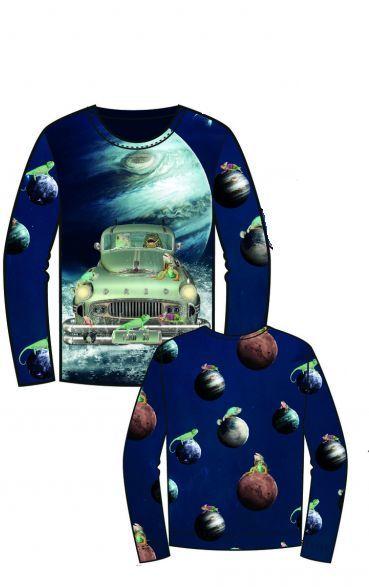 Panel na triko velký- žáby ve vesmíru vyrobeno v EU