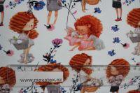 Teplákovina bílá LORA s květinami- digitální tisk EU-úplety atest pro děti