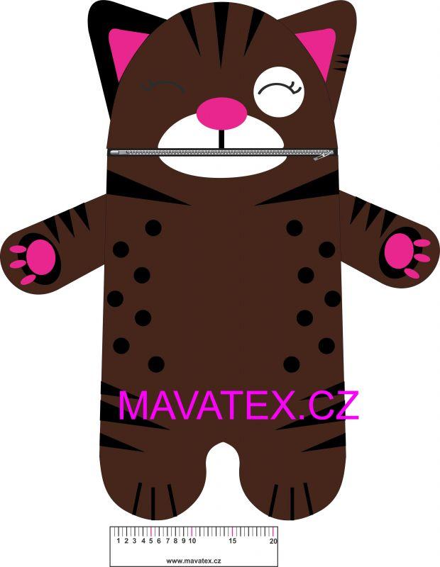 Pyžamožrout - kočička tmavě hnědá vyrobeno v EU- atest pro děti bavlna