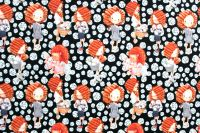 Softshell  LORA  na černé s bílými puntíky - zimní - digitální tisk