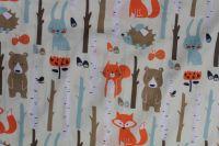 Světle béžová bavlna s medvědy a liškami
