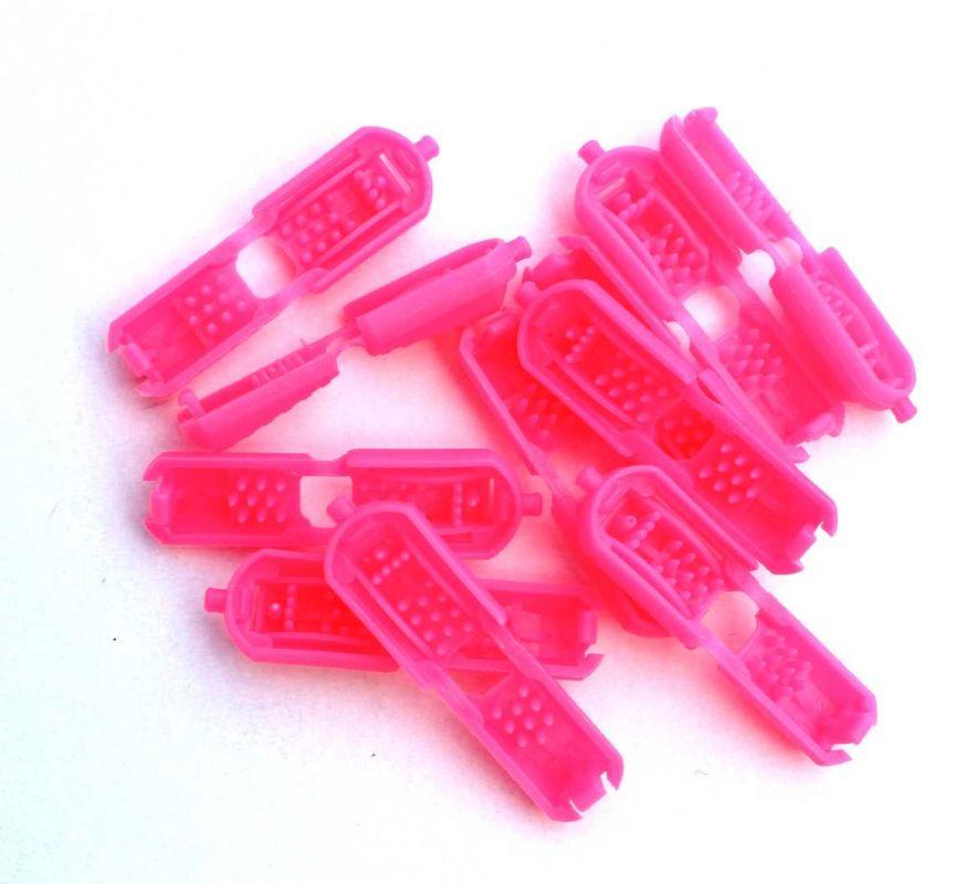 Svítivě růžová plastová koncovka plochá- 2ks Vyrobeno mimo EU
