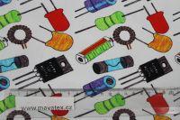 Jednolícní úplet bílý elektrosoučástky ručně kreslené- digitální tisk vyrobeno v EU