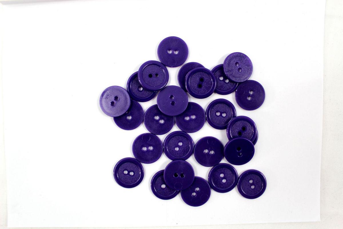 Knoflík plastový 2 cm fialový Vyrobeno mimo EU