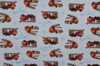Jednolícní úplet světle modrý hasiči-pyžamkový úplet
