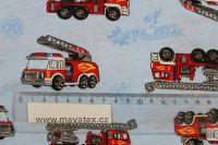 Jednolícní úplet světle modrý hasiči-pyžamkový úplet EU-úplety atest pro děti