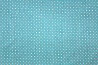 Aqua bavlna s malými bílými puntíky