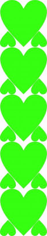 Nažehlovačka fluo zelená srdíčka vyrobeno v EU
