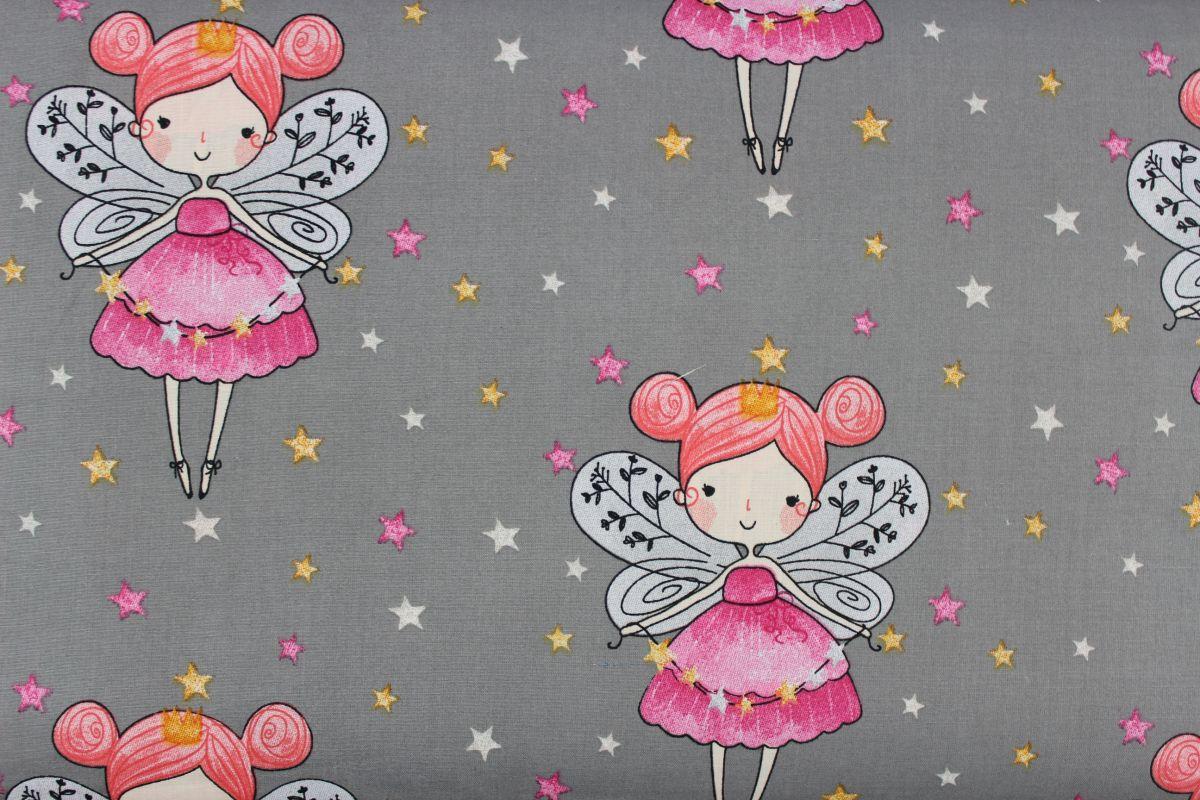 Šedá bavlna víly s křídly vyrobeno v EU- atest pro děti bavlna