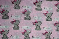 """Světle růžová bavlna s medvídky - """"it is girl """""""
