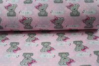 """Světle růžová bavlna s medvídky - """"it is girl """" vyrobeno v EU- atest pro děti bavlna"""