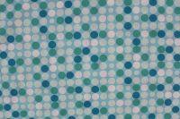 Aqua bavlna s většími modro-bílými puntíky - 2 jakost