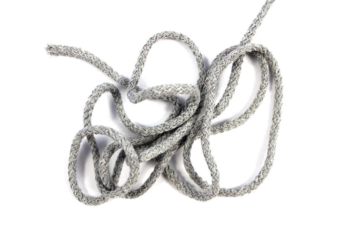 Kulatá tkanice šedá mellange- 0,5 cm vyrobeno v EU